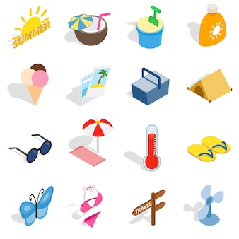 Summer icons set in isometric 3d style isolated vector illustration