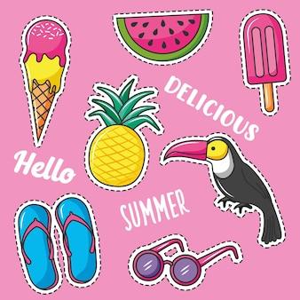 점선으로 여름 아이콘 스티커입니다. 큰 부리 새와 여름 요소가있는 과일