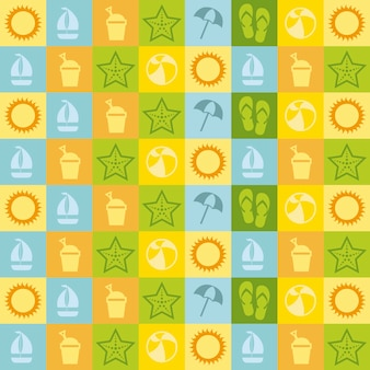 Summer icons over white background vector illustration