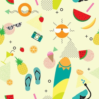 Summer icons with memphis style seamless pattern background.