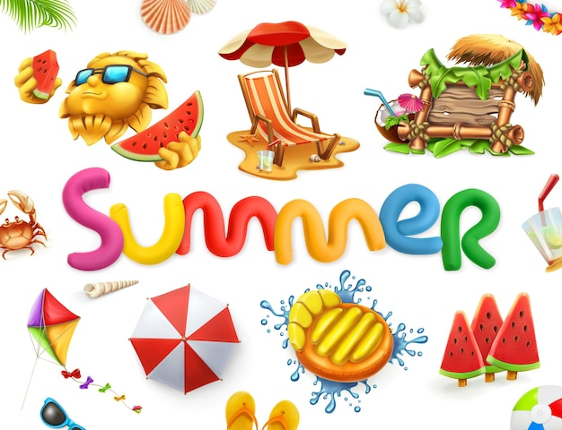 Summer illustration or card with lettering and summer elements
