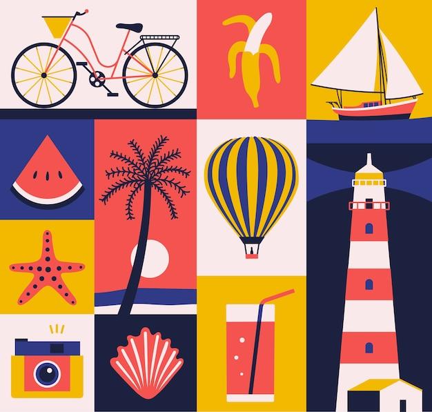 Летняя иллюстрация, набор иконок, туристический плакат, фон.