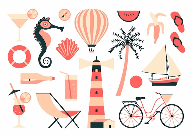 Summer illustration,  icon set