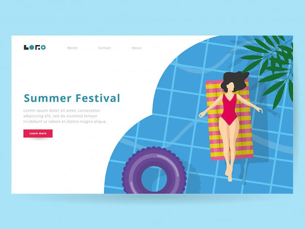 Summer illustration for landing page