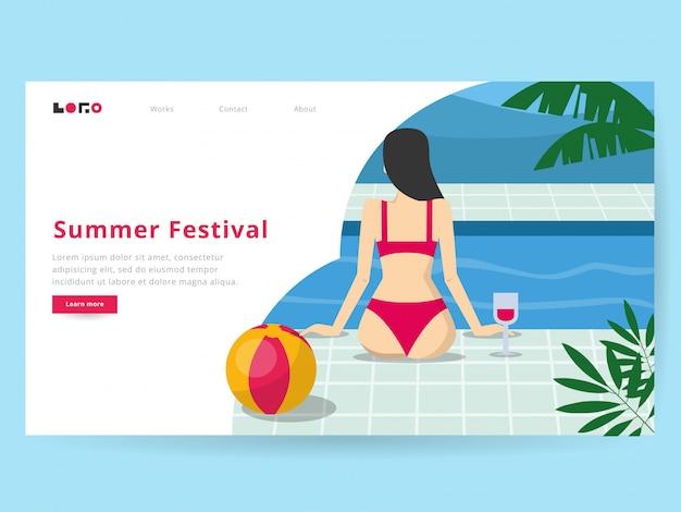 Summer illustration for landing page