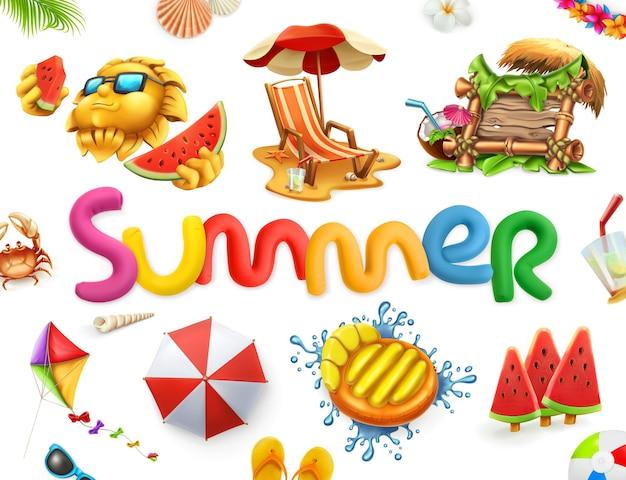 여름 그림 또는 글자와 여름 요소가있는 카드