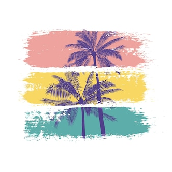 Summer illustration of palm trees silhouettes with colorful brush strokes.