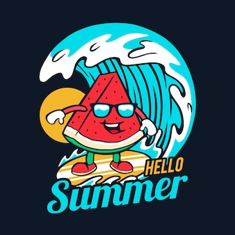 Summer illustration watermelon surfing with sunglasses