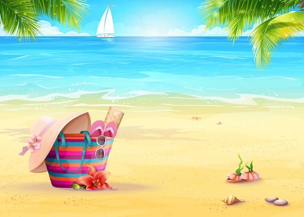 Летняя иллюстрация с пляжной сумкой на песке на фоне моря и белого парусника