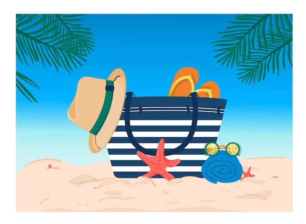 砂の上のビーチバッグと夏のイラスト
