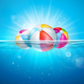 Summer illustration with beach ball on underwater blue ocean background.