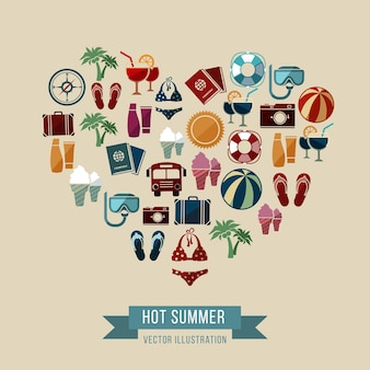 Summer illustration with beach and vacation icons in heart shape