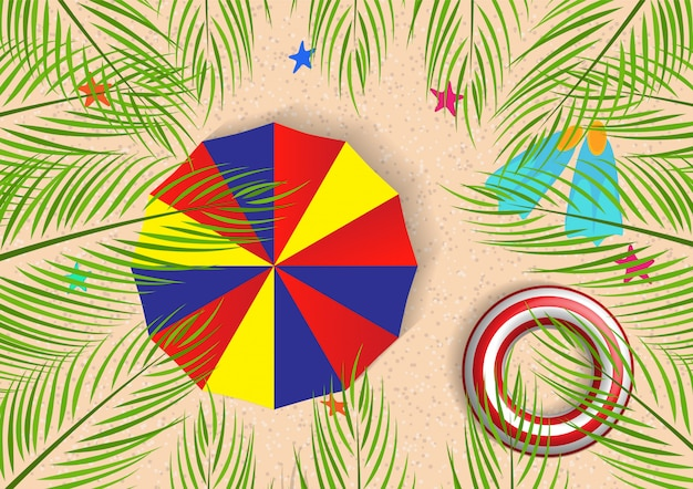 Summer illustration with coconut palm leaves top view