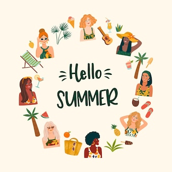 Summer illustration with cute women. card