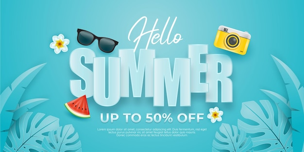 Summer illustration with decoration on blue sky background