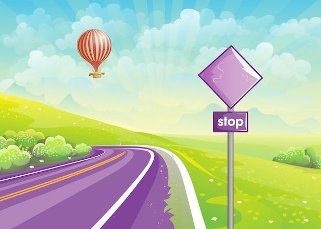 高速道路と夏のイラスト