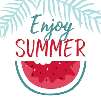 Summer illustration with slice watermelon and lettering.