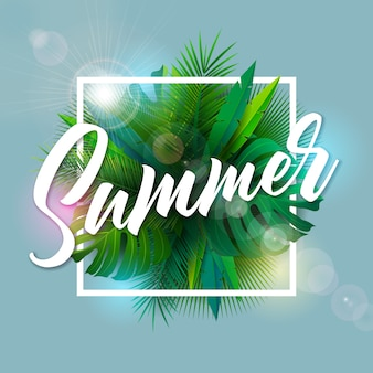 Summer illustration with typography letter and tropical palm leaves