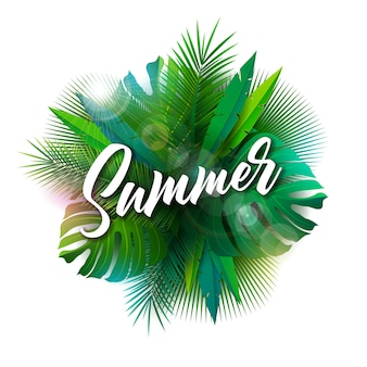 Summer illustration with typography letter and tropical plants