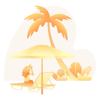 Summer illustration with woman sitting relaxing on the beach