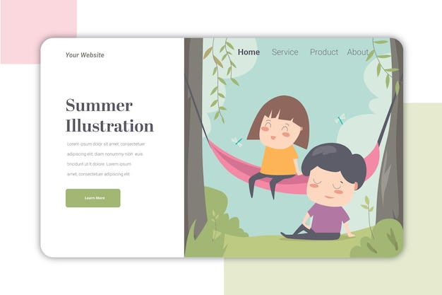 Summer ilustration landing page   template cute caracter