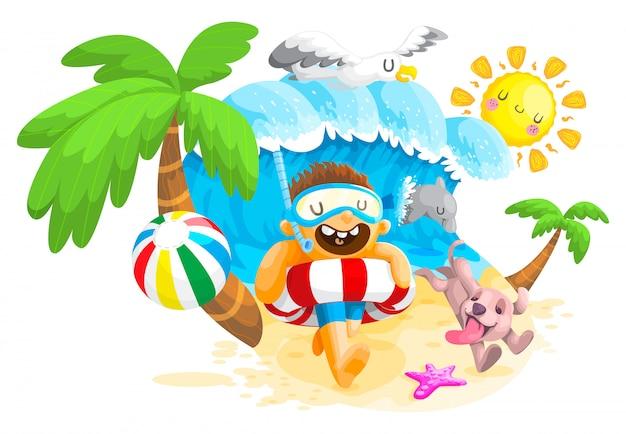 해변에서 여름, 해변에서 소년과 개 놀이