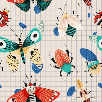 Summer insects pattern with beetles, moths and butterflies.