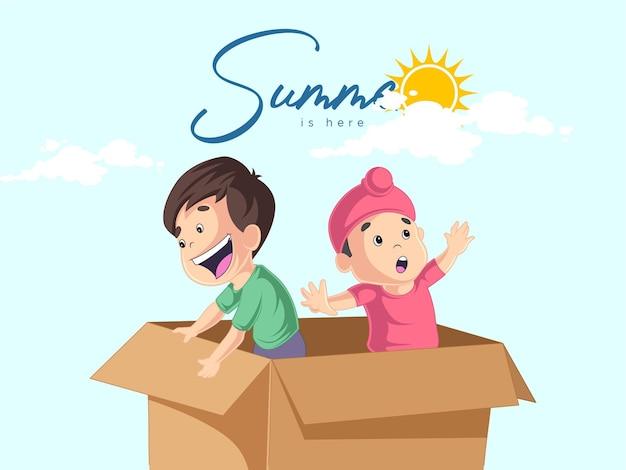 夏はここに幸せな男の子が箱の中に立っているデザインです