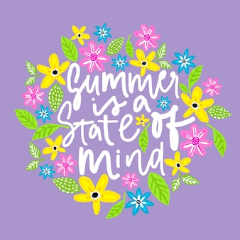 Summer is a state of mind. handdrawn illustration.