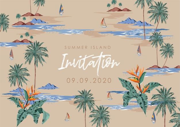 「シュメール島の招待状」テキストを使用した夏の島のデザイン。