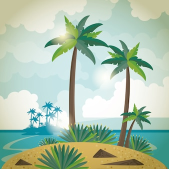 Summer island with palms trees and sea