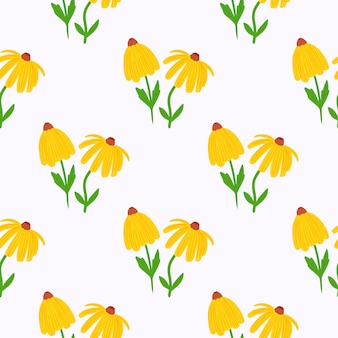 Summer isolated yellow sunflower seamless doodle pattern.