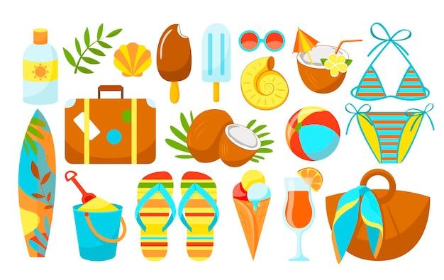 Summer items. beach theme. hello summer.