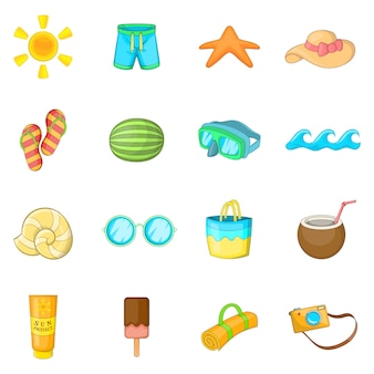 Summer items icons set