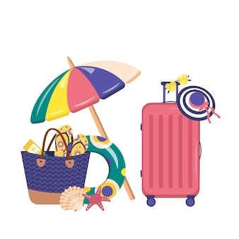 Набор летних предметов. пляжный чемодан и аксессуары, зонт, очки