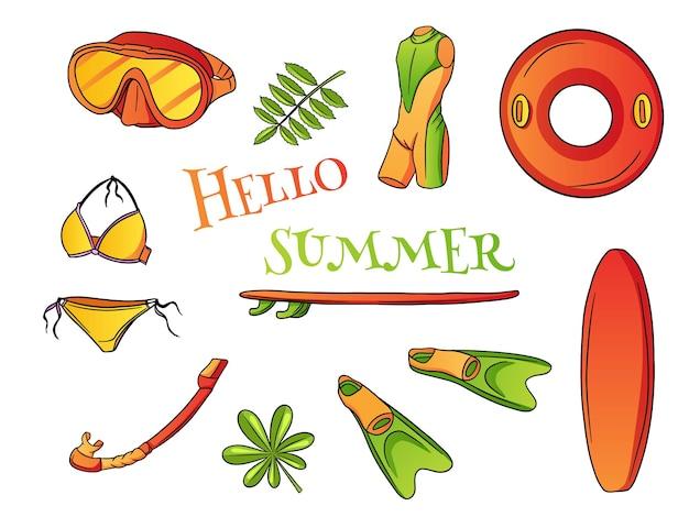 여름 아이템 세트. 서핑 보드, 지느러미, 잠수복, 원형, 다이빙 마스크, 에어 스노클