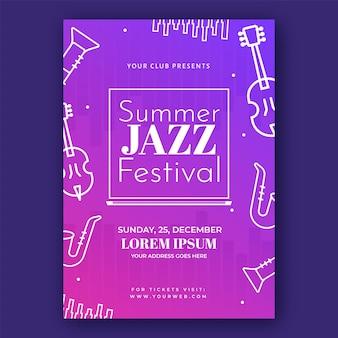 그라데이션 핑크와 퍼플 색상에 라인 아트 악기와 여름 재즈 축제 전단지 디자인.