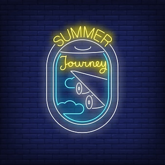 Summer journey neon lettering and airplane window view