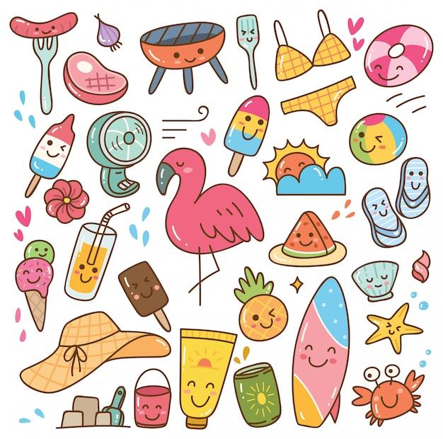 Summer kawaii doodle set
