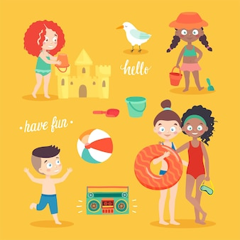 Summer kids card set swimming playing on the beach camping and having fun