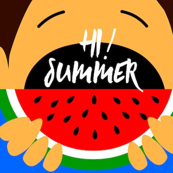Summer kids eat watermelon background design