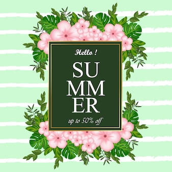 Summer label abstract background with flowers and tropical foliage