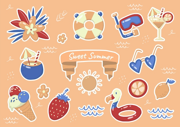 バナー、ポスター、チラシの夏のラベルのロゴ