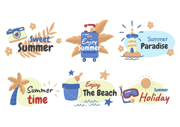 夏のラベルのロゴ