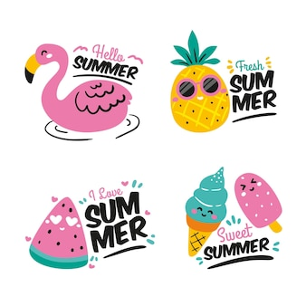 Summer labels collection concept