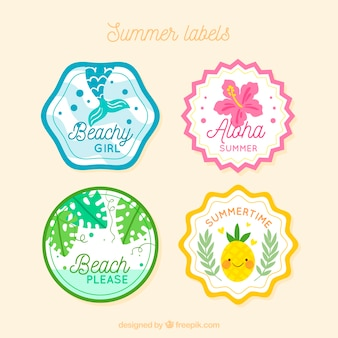 Summer labels collection with nature