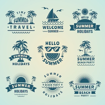 Summer labels or tropical logos