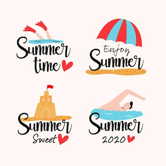 Summer labels with beach and water