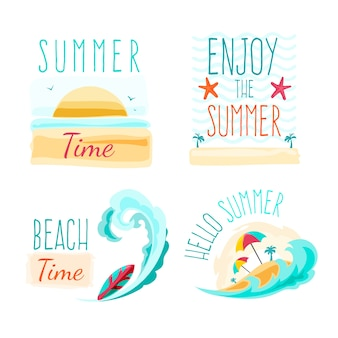 Summer labels with beach