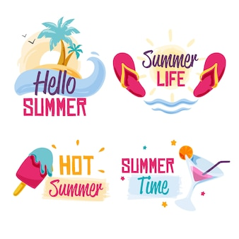 Summer labels with ice cream and beach
